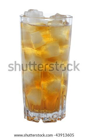 Glass of iced tea isolated on white background