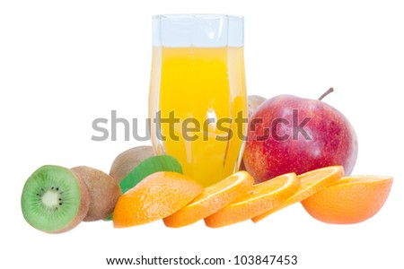 glass of juice, kiwi,orange,apple isolated on white background