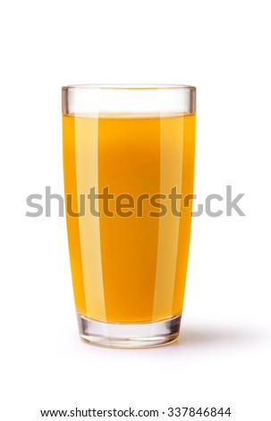 glass of juice on a white background - stock photo