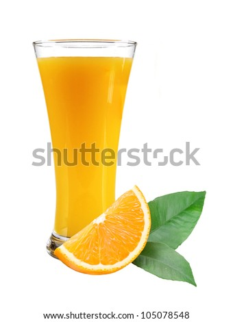 Glass of juice, orange slice with leaves on white background - stock photo
