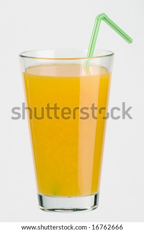 Glass of juice with a straw