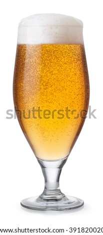 Glass of lager beer with foam and bubbles isolated on white background