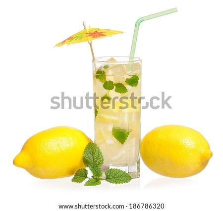 Glass of lemonade with lemon and mint isolated on white background - stock photo