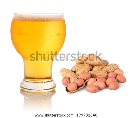 Glass of light beer and peanuts isolated on white - stock photo