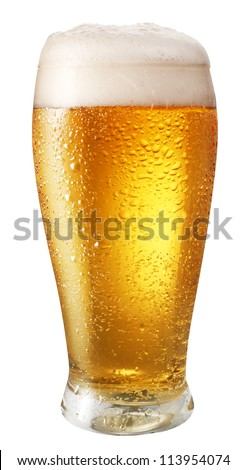 Glass of light beer isolated on a white background. File contains path to cut. - stock photo