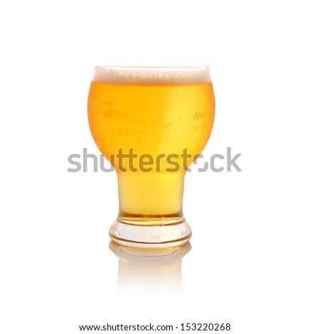 Glass of light beer isolated on white - stock photo