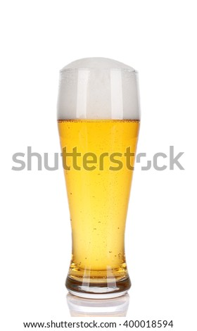 Glass of light beer, isolated on white - stock photo