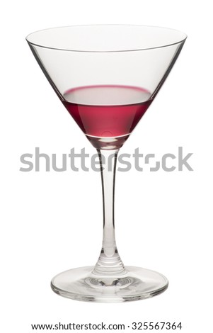 Glass of martini with red water on white background.