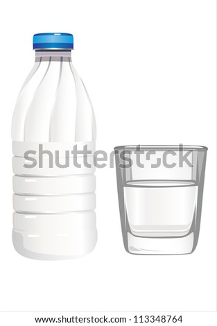 Glass of milk and bottle on white background - stock photo