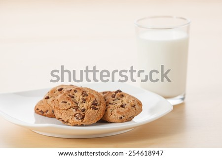 Glass of Milk and Chocolate Chip Cookies