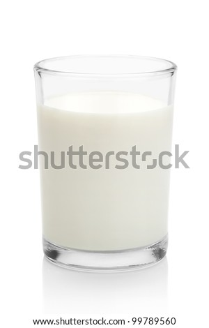 Glass of milk, isolated on the white background, clipping path included. - stock photo