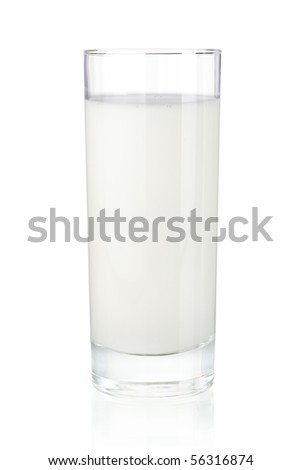Glass of milk. Isolated on white - stock photo