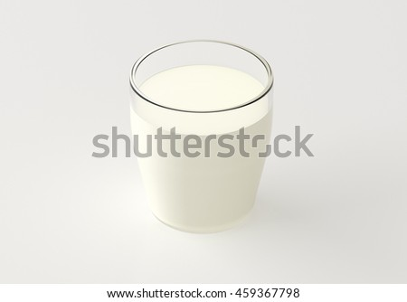 Glass of milk isolated on white background. 3d render