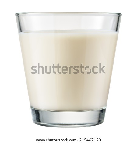 Glass of milk isolated on white background. With clipping path - stock photo