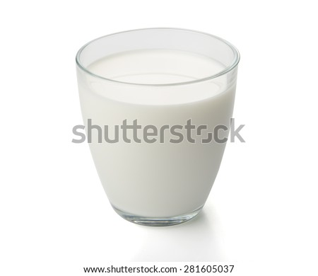 glass of milk isolated with path