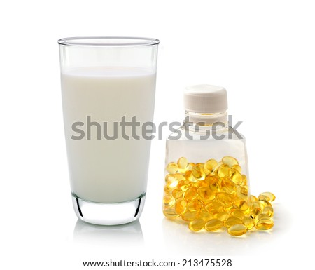 glass of milk mint and fish oil  isolated on white background - stock photo