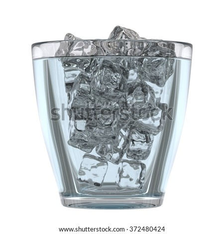 Glass of mineral water with ice, 3D render - stock photo