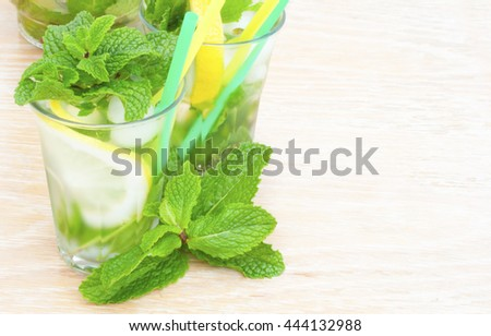 Glass of mint lemonade. Fresh drink with lemon juice and spearmint.  - stock photo