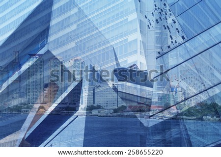 Glass of modern tower for business background