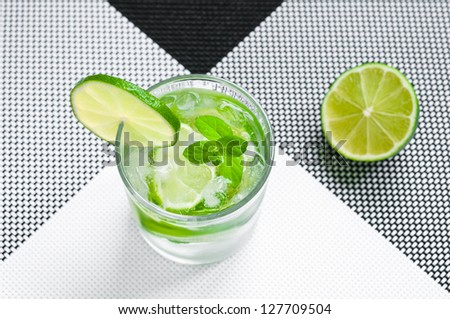 Glass of mojito drink with ice, mint and lime - stock photo