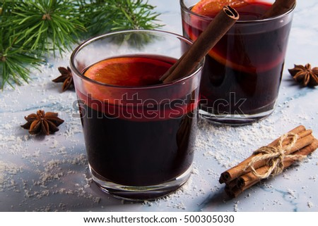Glass of mulled wine Anise star
