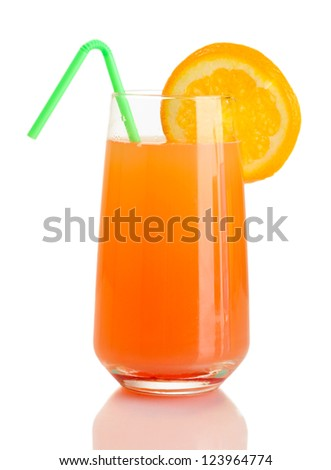 Glass of orange cocktail isolated on white - stock photo
