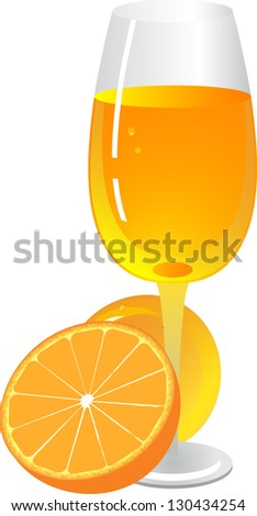 Glass of orange juice. - stock photo