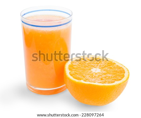 Glass of orange juice and a half of fruit isolated on white, saved with clipping path - stock photo