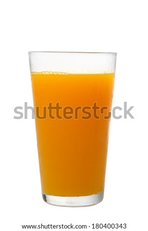 Glass of orange juice cutout, isolated on white background