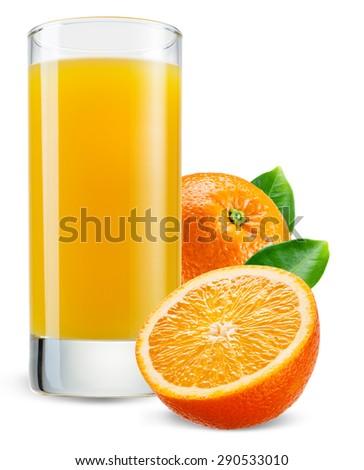Glass of orange juice with fruit isolated on white. - stock photo