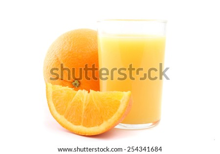Glass of orange juice with oranges isolated on a white background. - stock photo