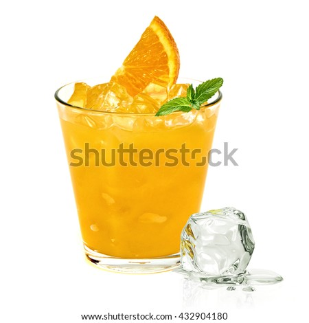 Glass of orange vodka with ice cubes isolated on white background