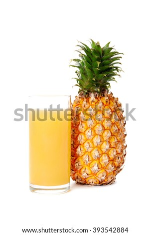 glass of pineapple juice and pineapple isolated on white background - stock photo