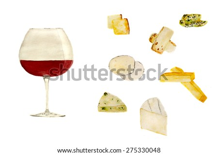 glass of pinot noir wine and set of cheese, hand-drawn watercolor - stock photo