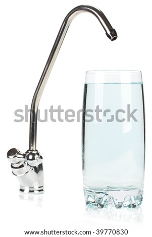 Glass of pure water and the filter for water treating on a white background. - stock photo