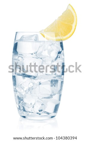 Glass of pure water with ice cubes and lemon slice. Isolated on white background - stock photo