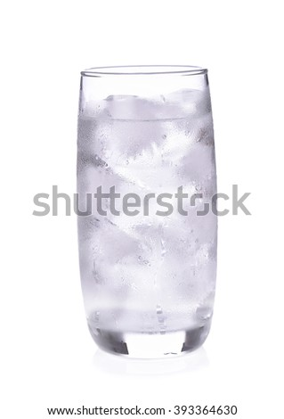 Glass of pure water with ice cubes. Isolated on white background - stock photo