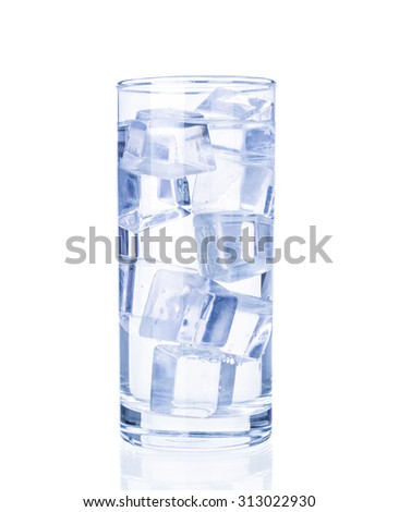 Glass of pure water with ice cubes on white background. - stock photo