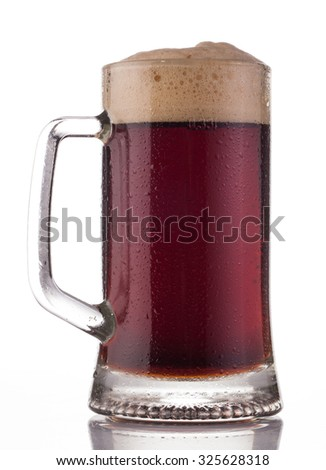 Glass of red beer isolated on white
