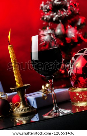 glass of red,Christmas decoration,gifts