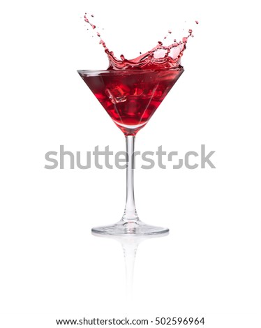 glass of red cocktail splash isolated on white background