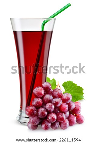 Glass of red grape juice with fruit isolated on white. - stock photo