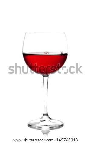 glass of red wine against white background