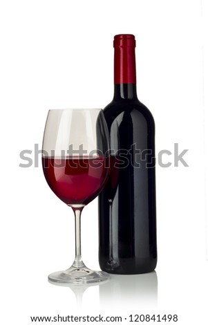 Glass of red wine and a bottle isolated over white background - stock photo
