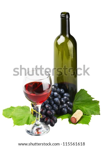 glass of red wine and grape isolated on white background