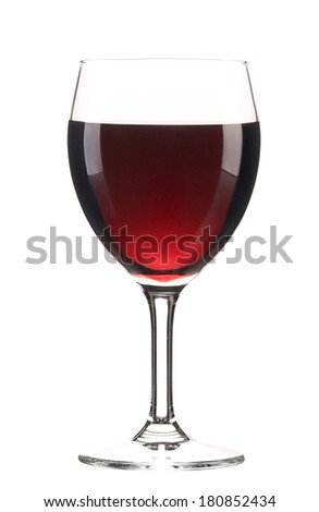 Glass of red wine. Isolated on a white background. - stock photo