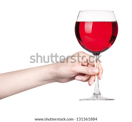 glass of Red wine making toast isolated on a white background
