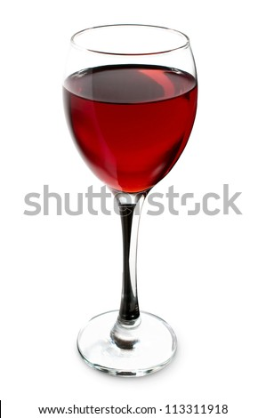 glass of red wine on a white background - stock photo