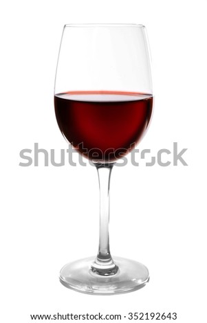 Glass of red wine on light background