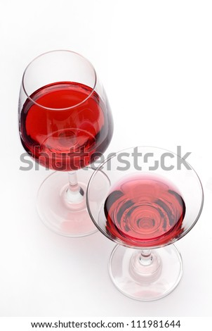 Glass of red wine view from above close-up. - stock photo